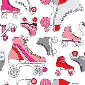 stock photo of roller-derby  - Seamless retro disco roller skates derby background pattern in vector - JPG