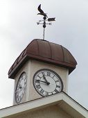 Clock Tower  And Weather Vane poster