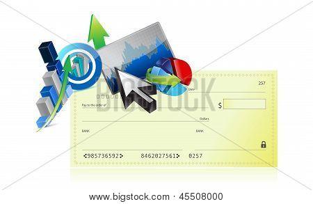 Bank Check Business Graph Set Design