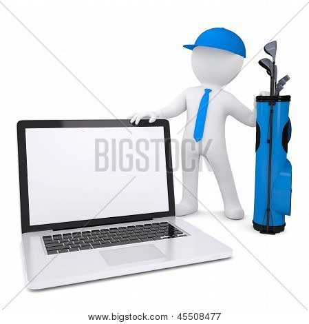 3d white man holding a laptop