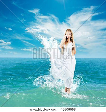 Ancient Greek Goddess in Sea Waves