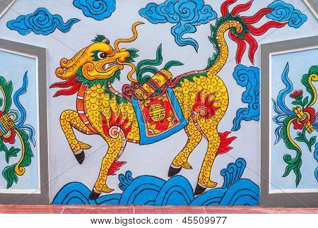 Vietnam Quang Binh Province March 2012: Chinese Dragon Painting At Cemetery.