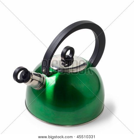 green iron kettle isolated on white
