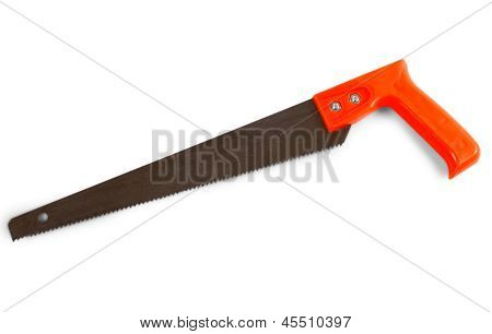 hacksaw saw orange isolated on a white background