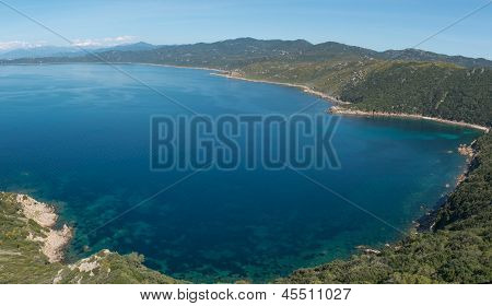 Turquoise Sea Of The Gurf Of Ajaccio, Corsica, France