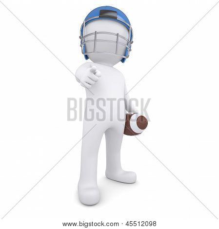 3d man in football helmet points finger at viewer