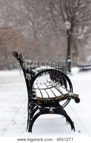 Benches In Park Under White Falling Snow
