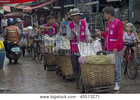 Bangkok, Thailand Sep 27Th: Porters Waiting For Business In Khlong Toei Market On September 27Th 201