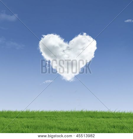 Heart Shape Cloud On Field