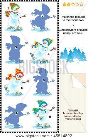 Match to shadow visual puzzle - skating snowmen