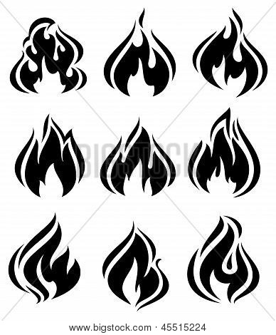 Brand vlammen, zwarte pictogrammen set
