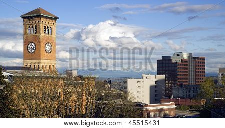 Tacoma Skyline Old City Hall Brick Building Architectural Clock Tower