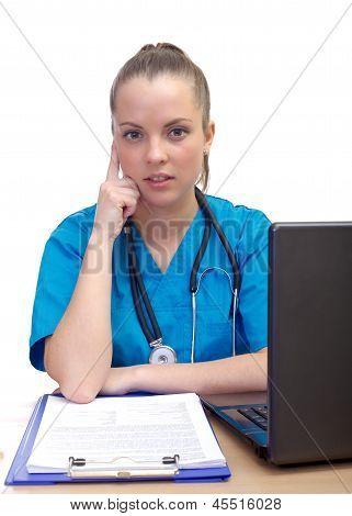 Thinking Female Doctor