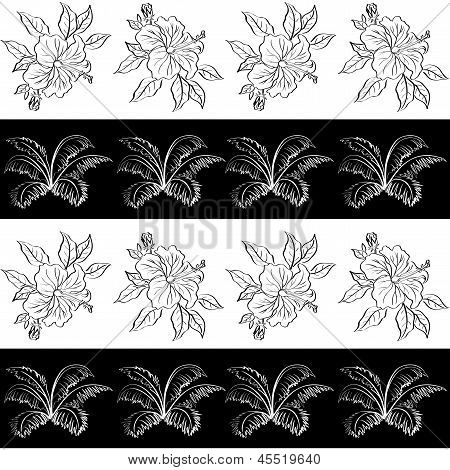 Seamless pattern, contour flowers