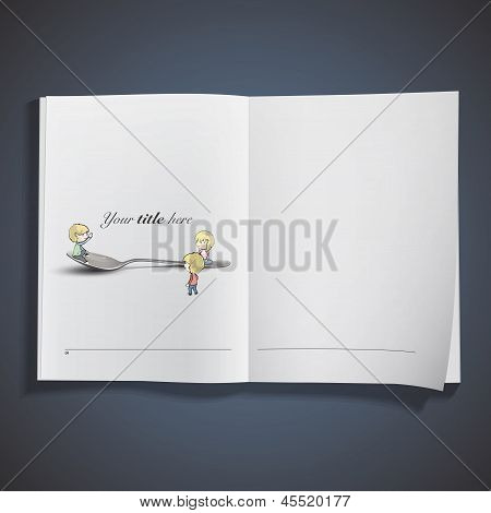 Kids Around Spoon Inside Book. Vector Design.