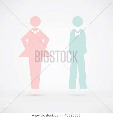Men and Women Wc sign Silhouette