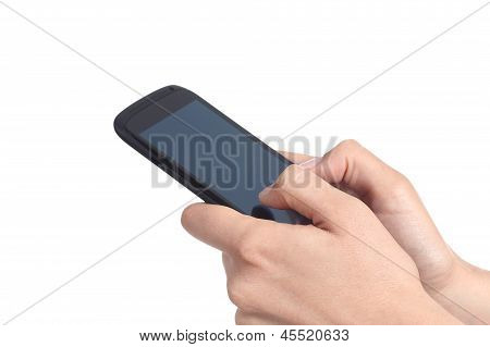 Woman Hands Holding And Touching A Mobile Phone Screen With Her Thumbs