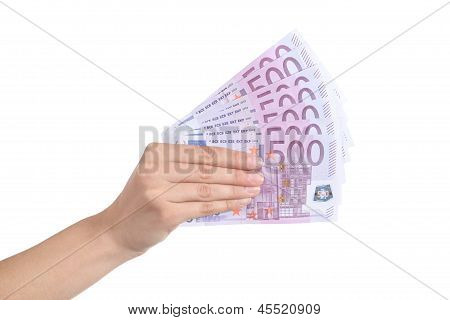 Woman Hand Paying A Lot Of Five Hundred Euro Banknotes