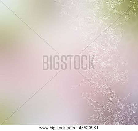Molecule background in the blurred colors