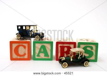 Antique Black Cars On ABC Blocks