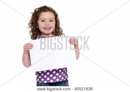 Young Girl Holding Up A Blank Sign