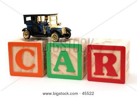 Antique Black Car On ABC Blocks poster