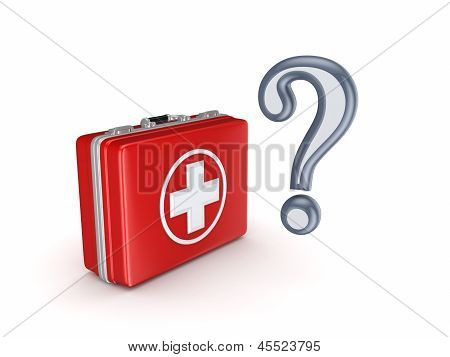 Query mark and medical suitcase.