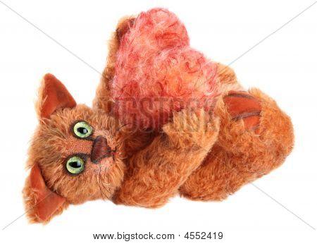 einzigartige red Cat fluffy Heart in seine Pfoten auf weißem Hintergrund hält