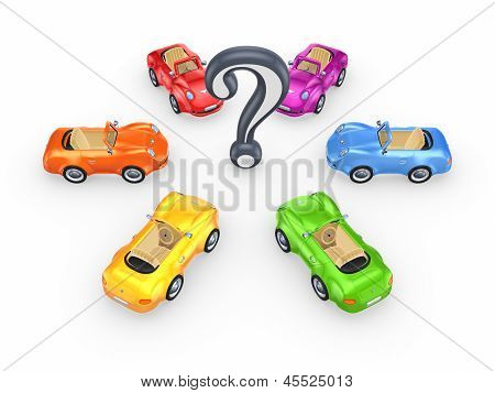 Colorful cars around query mark.