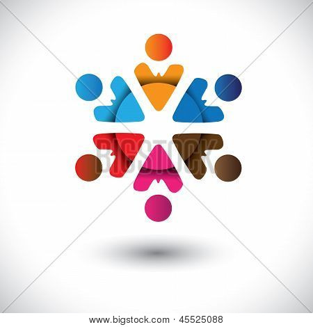 Abstract Multi-color People Icons In Circle- Vector Graphic