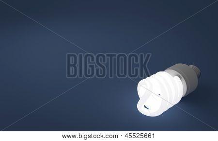 Lit Fluorescent Lightbulb