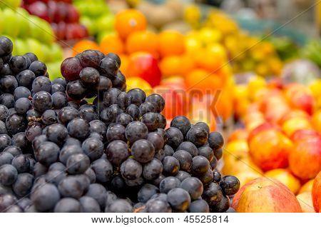 Red grapes at the local market in Quito, Ecuador