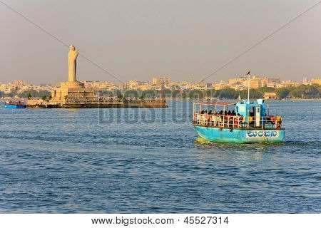 Gautam Buddha in the middle of the lake Hussain Sagar