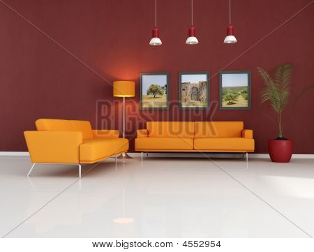 Orange Couch In Modern Living Room