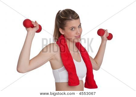 Beautiful Model Exercising With Red Weights