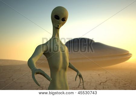 Alien In Desert With Ufo