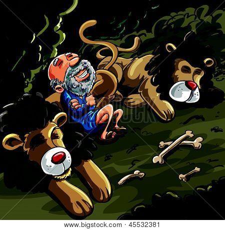 Daniel en la historieta de la guarida de leones