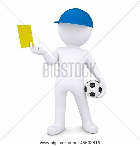 3d white man with soccer ball shows yellow card