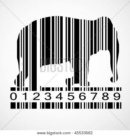 Barcode elephant image vector illustration