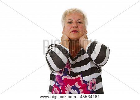 Female Senior With Neckache