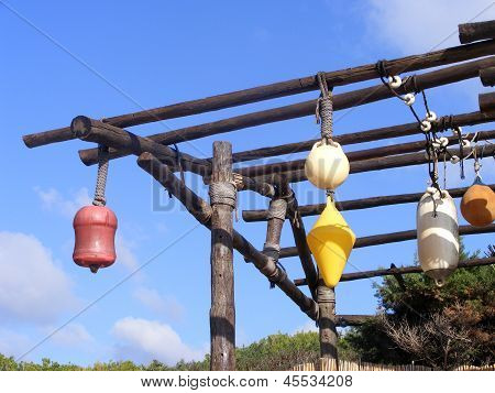Colorful buoys hanging