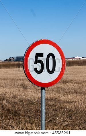 Speed Limit Sign In Rural Setting