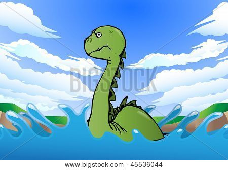 Gigantic Dinosaur Swimming