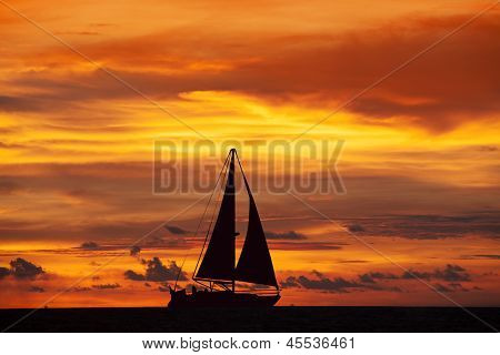 Amazing Sunset Landscape And Ship