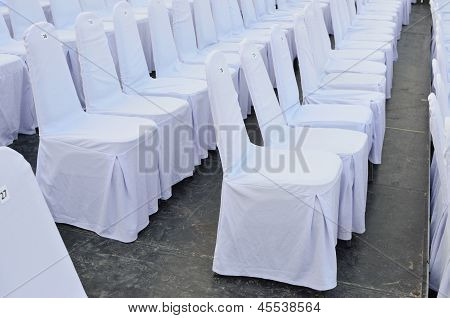Chairs In Row Cover With White.