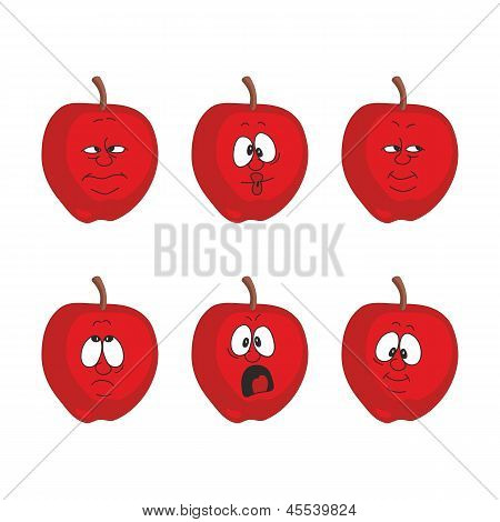 Emotion cartoon red apple