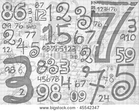 Hand Drawn Numbers Paper Grid Background