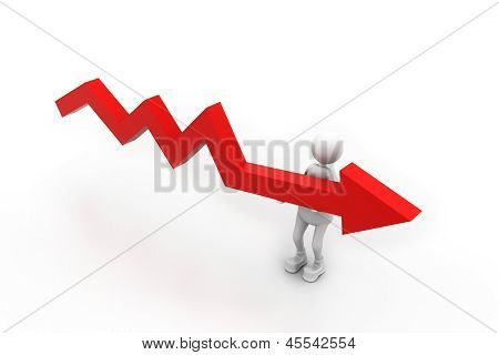 businessman holding falling graph