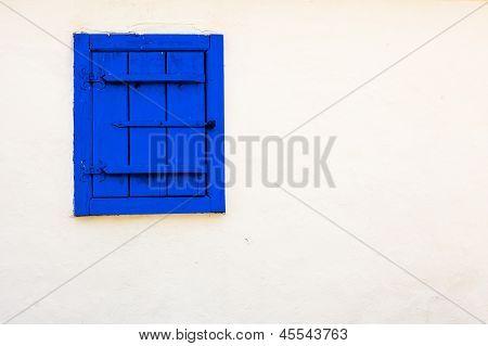 Blue Vintage Window On White Wall