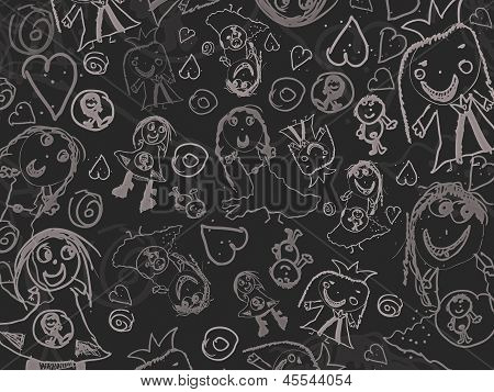 Children's Drawings On A Black Background